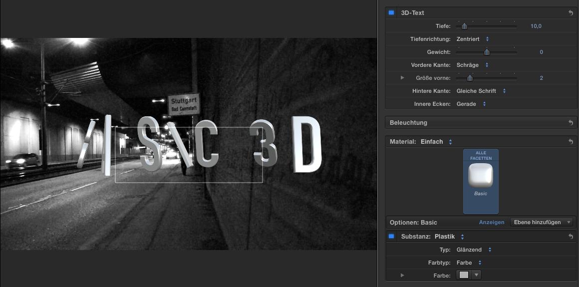 3D Titel in Final Cut Pro X 10.2