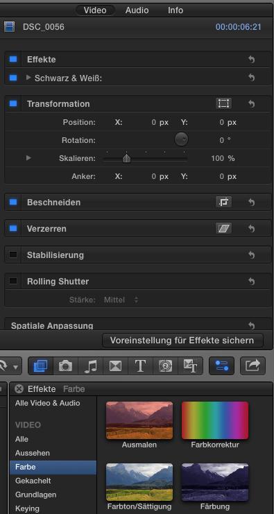Farbkorrektur in Final Cut Pro X 10.2