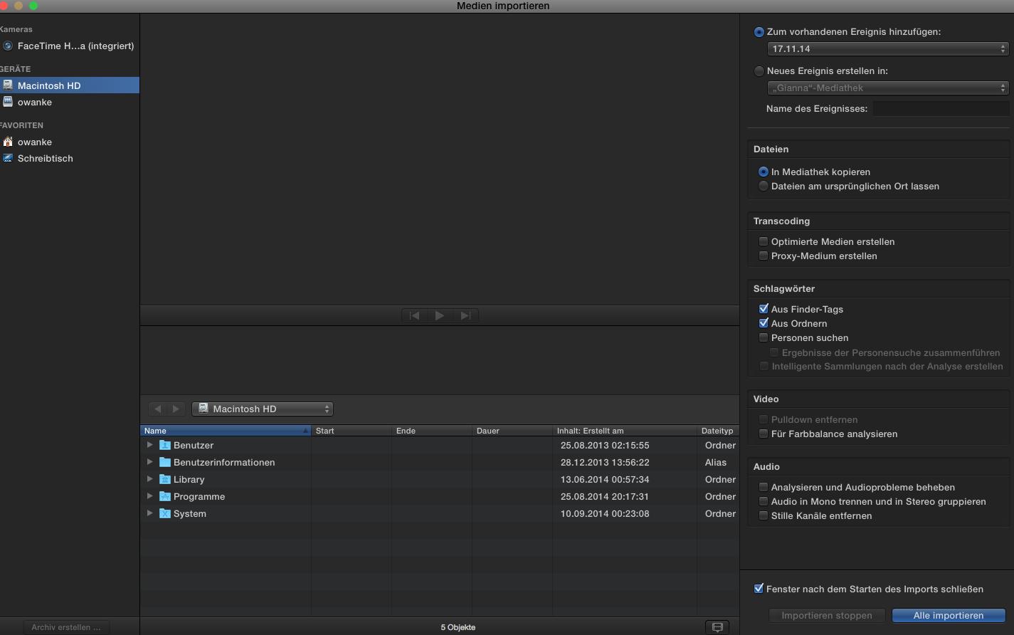 Medienimport in Final Cut Pro X 10.2