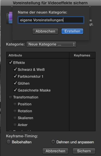 Voreinstellungen in Final Cut Pro X 10.2
